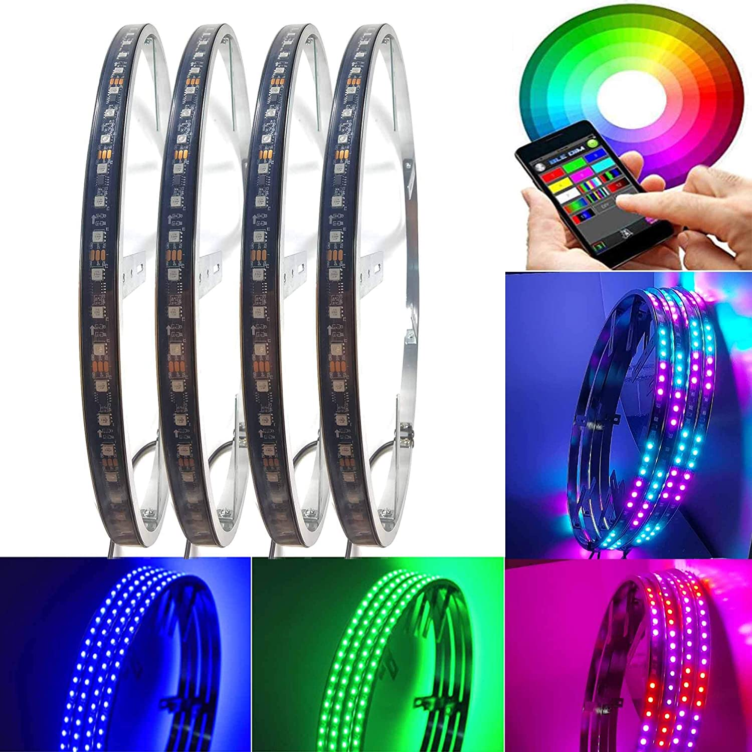 NBWDY 4Pcs 15.5 inch Dancing Over item handling ☆ Chasing Color Attention brand Wheel Lighti Ring LED