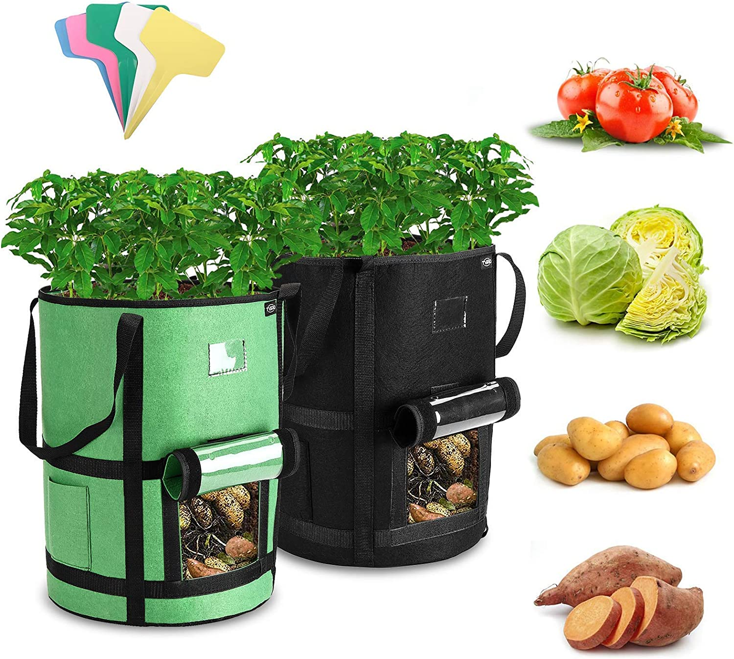 Tomato Upgraded 2 Pack 10 Gallon Potato Growing Bags Potato Planter Bags with Flap and Long Handles for Potato 2021 Upgraded Version Carrot with 5 Plant Lables Tvird Potato Grow Bags