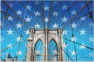 NYC Decor NYC Bridge Photo with Stars Home To The Empire States Building Times Square and Other Sites Blue Grey Mats Non S...