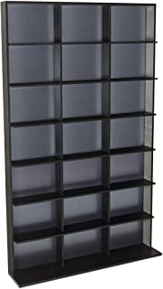 Atlantic Elite Media Storage Cabinet - Medium Tower, Stores 609 CDs, 483 Blu-Rays, 420 DVDs, 410 PS3/PS4 Games or 528 wii Games with 7 Fixed Shelves, PN35435742 in Black