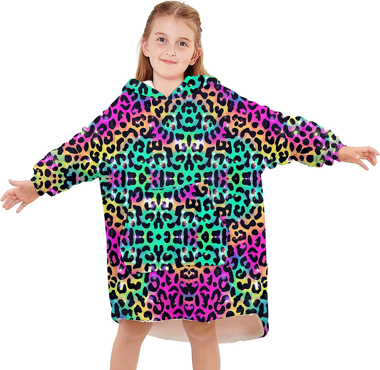 Kids Girls Boys Warm Denver Mall Wearable Leopard Cute Pr Sweatshirt Blanket Special price for a limited time
