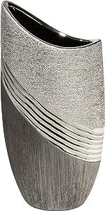 Vase déco moderne vase à fleur vase en céramique vase argent / gris hauteur 30 cm