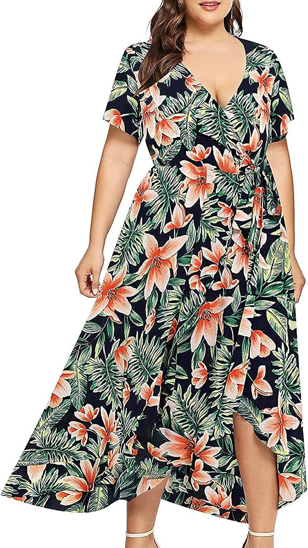 Summer Dresses for Women, Women's Short Sleeve Lace Floral Hi-Low Cocktail Dress Vintage Formal Party Swing Dress