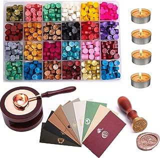ZEELI Wax Seal Set, 600 Pcs Octagon Sealing Wax Beads with 1 Pcs Melting Furnace, 1 Pcs Tree of Life Stamp,10 Pcs High-Grade Vintage Envelope, 4 Pcs Tea Candles and 1 Pcs Wax Melting Spoon