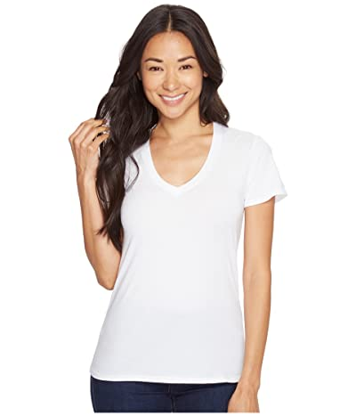 Mod-o-doc Supreme Jersey Fitted S/S V-Neck (White) Women