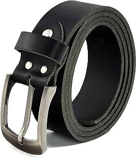 Fa.Volmer  Gürtel Herren Ledergürtel aus Büffelleder für Männer Jeans Anzug Echtleder Schwarz 38mm breit kürzbar #10125