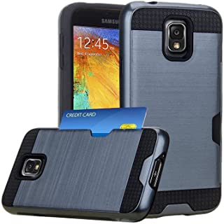 J.west Note 3 Case, Galaxy Note 3 Case, Note 3 Wallet Case with ID Card Slot Holder Rugged Rubber Heavy Duty Shock Absorbent Armor Hybrid Defender Shock Proof Case Cover Skin - Navy Blue
