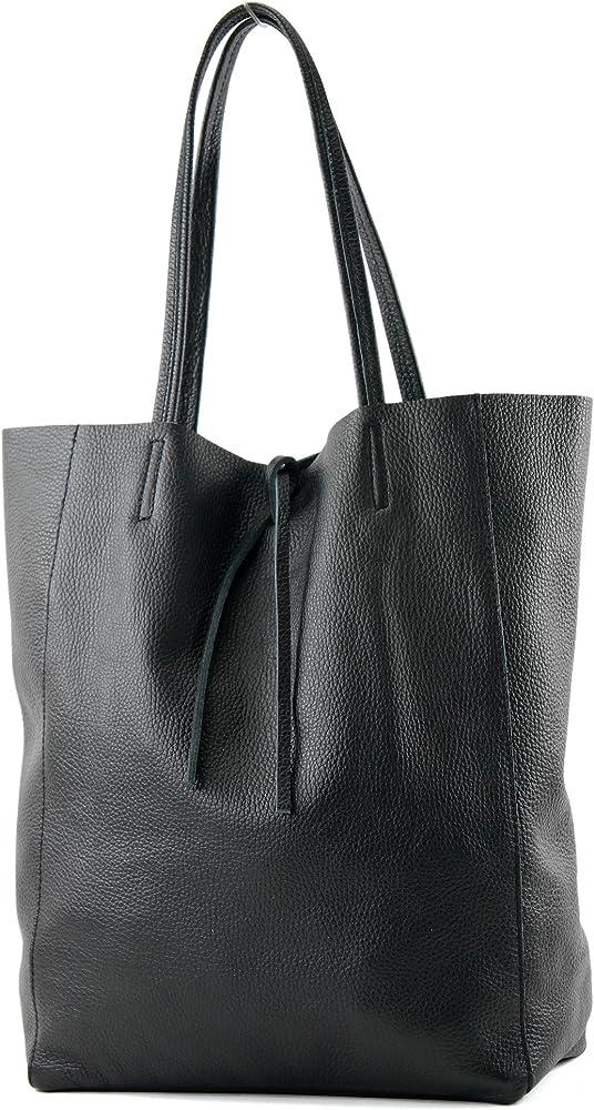 Modamoda de, borsa in pelle, shopper per donna a spalla, nera T163S