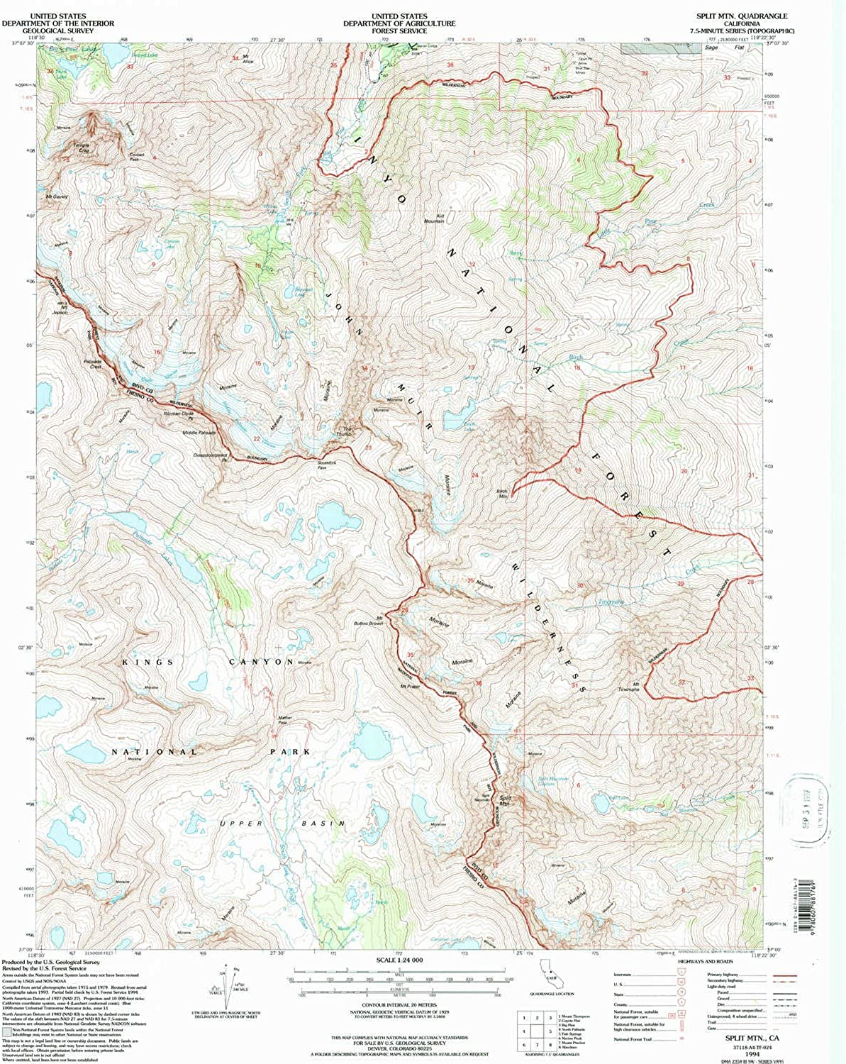Split MTN CA topo map, 1 24000 Scale, 7.5 X 7.5 Minute, Historical, 1994, Updated 1997, 26.6 x 21.9 in