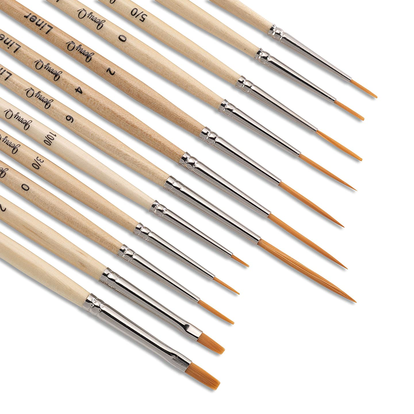 Jerry Q Art 12 Pcs Detail Paint Brushes, Golden Synthetic Hair, High Performance for Oil, Acrylic and Watercolor JQ-503