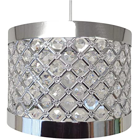 COUNTRY CLUB Sparkly Ceiling Pendant Light Shade Fitting Chandelier, Metal, Silver