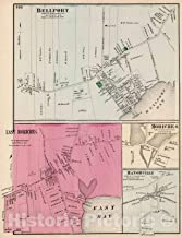 Historic Map - 1873 Bellport, East Moriches, Moriches, Manorville, in Brookhaven. Long Island. - Vintage Wall Art - 44in x 57in