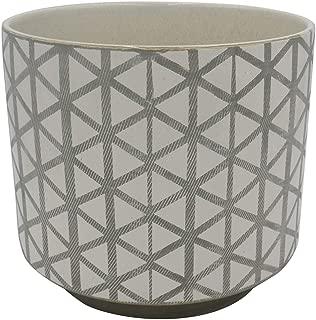 Rivet Modern Lattice-Patterned Stoneware Planter, 8.85