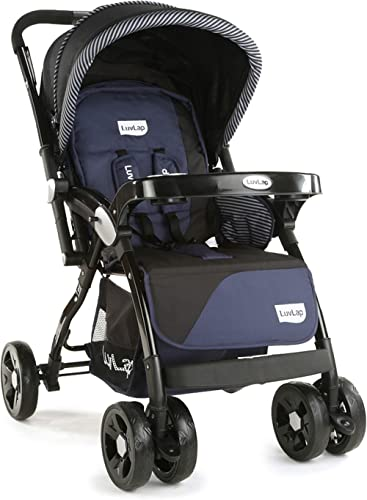 LuvLap Galaxy Stroller/Pram, Extra Large Seating Space, Easy Fold, for Newborn Baby/Kids, 0-3 Years (Navy/Black)