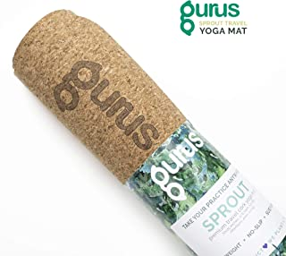 Gurus Natural Cork Mat, Roots Yoga Mat with Natural Rubber Bottom, Sprout Yoga Mat with Lightweight TPE Latex-Free Bottom, Non-Slip, Eco-Friendly and Odor Free, 72