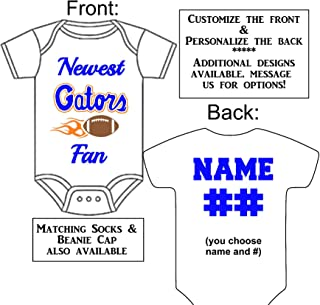 Personalized Custom Made Newest Gators Fan Football Gerber Onesie Jersey - Baby Announcement Reveal or Shower Gift
