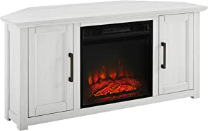Crosley Furniture Camden 48-inch Corner TV Stand with Electric Fireplace, Whitewash