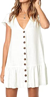 Womens Cute V Neck Short Sleeve Button Down Loose Fit Ruffle Mini Dresses