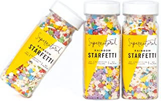Rainbow Starfetti Sprinkles by Supernatural | No Artificial Dyes | Gluten Free | 2.5oz (3 Pack)