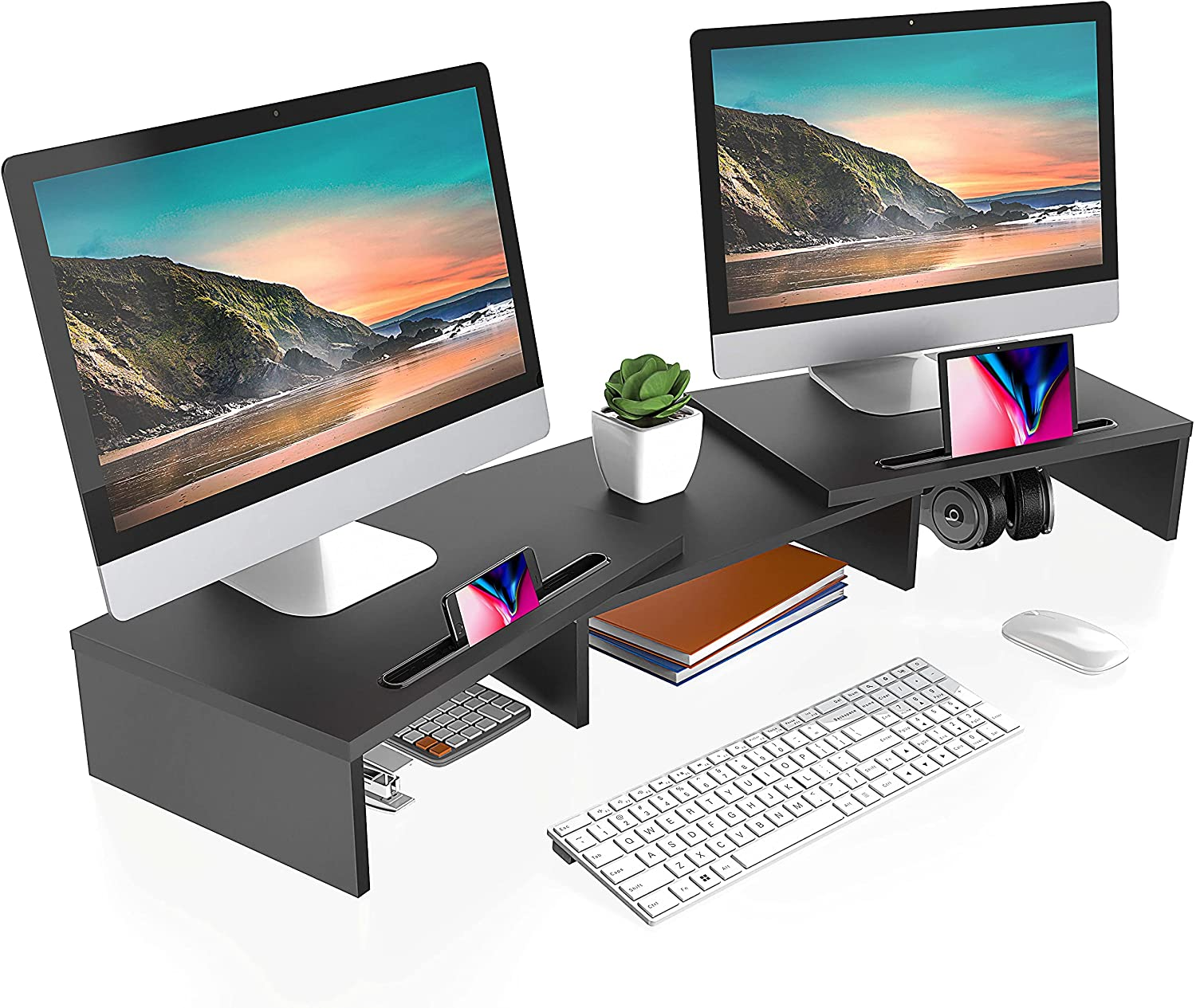 FITUEYES Dual Monitor Stand – 3 Shelf Computer Monitor Riser with Cellphone Holder, Wood Desktop Stand with Adjustable Length and Angle, Desk Accessories, Office Supplies, Black, DT111101WB
