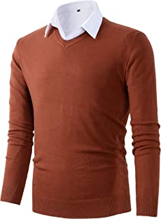 Mens Casual Basic Designed V-Neck Pullover Sweater
