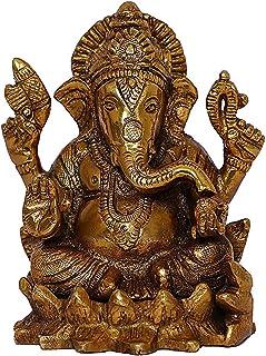 Brass Ganesh Idol l Figurine Statue l Hinduism Religious Art l Antique Gold Finish l Auspicious l Home Decorative Temple S...
