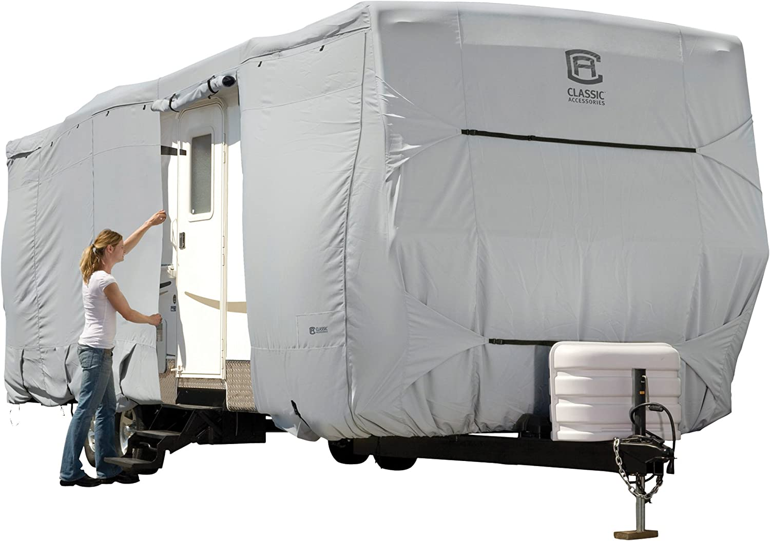 Classic Accessories PermaPRO Lightweight Ripstop and Water Repellent Cover, for 27' - 30' Travel Trailers, 80-138-181001-00 , Grey