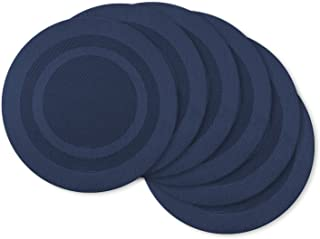 DII CAMZ34358 Double Space Dyed, Round Placemat S/6, Bordered Nautical Blue 6 Piece