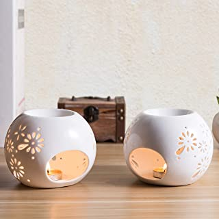 MyGift Flower Design White Ceramic Tealight Candle Holders, Set of 2