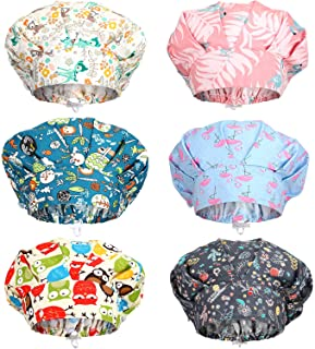 SATINIOR 6 Pieces Caps with Buttons Elastic Bouffant Turban Cap Printed Working Hats with Sweatband Unisex Tie Back Hats H...