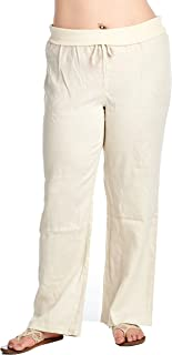 High Style Women's Plus Size Full Length fold Over 100% Linen Pants with Drawstring tie (Plus Size)