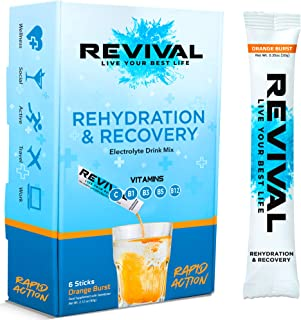 Revival, Rapid Rehydration: Electrolytes Powder - Rehydration Sachet Drink with Vitamins and Minerals, Effervescent Electr...
