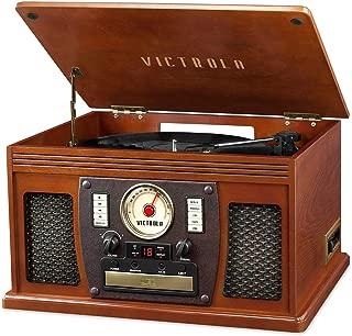 Victrola 7 en 1 Sherwood Reproductor de grabación con Bluetooth grabable con Tocadiscos de 3 velocidades, CD, Reproductor de Cassette y Radio FM