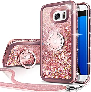 Silverback Phone case Compatible with Samsung Galaxy S7 Edge, Girls Women Moving Liquid Holographic Sparkle Glitter Case with Kickstand, Bling Bumper W/Ring Stand Slim for Samsung Galaxy S7 Edge -RD