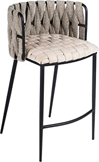 Statements by J Milano Counter Chair Beige 35 Inch Tall Off-White Modern Contemporary Solid Iron