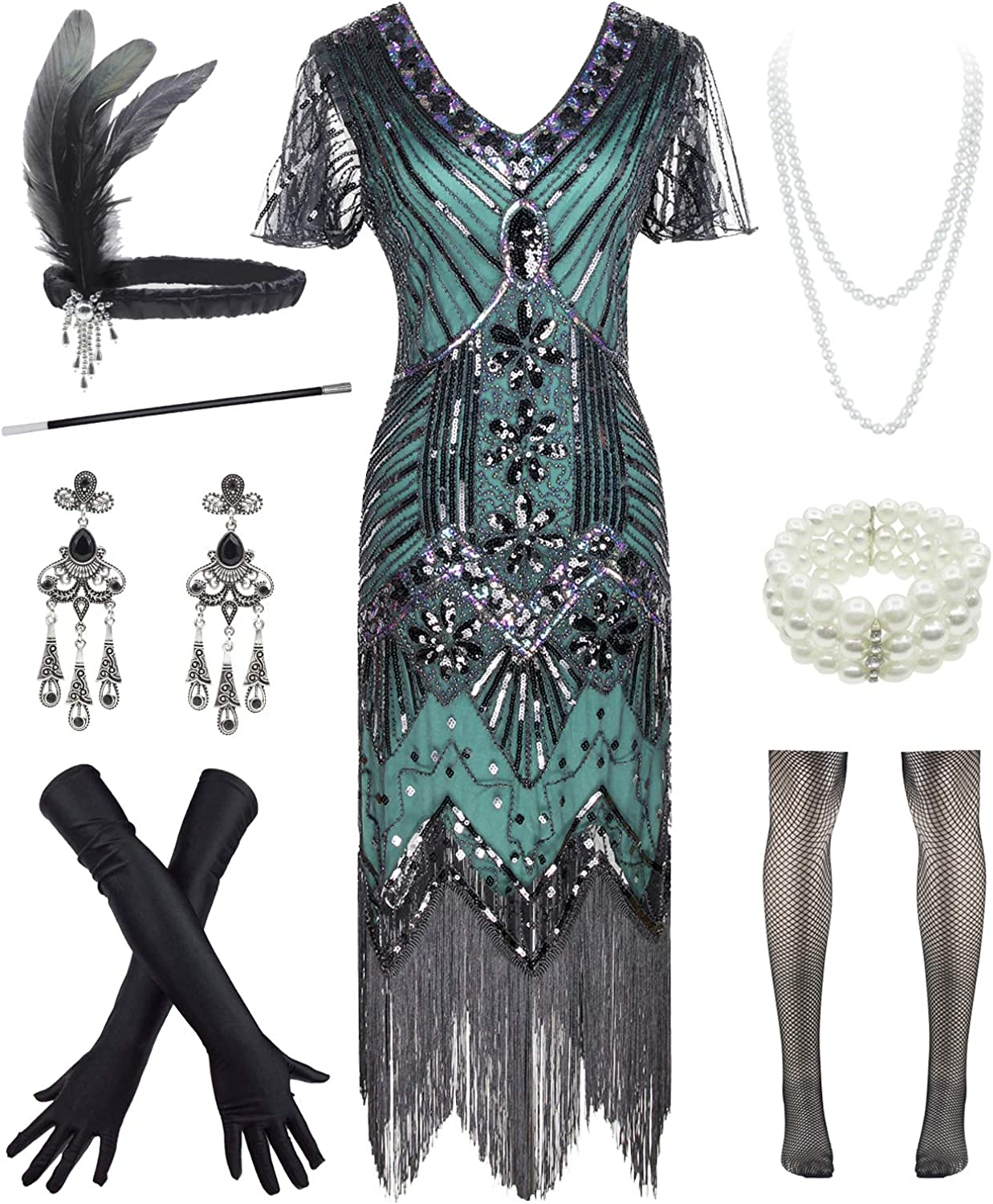 Womens 5% OFF Vintage Lace Fringed Gatsby 20s Cocktail Sale Special Price 1920s Dress with