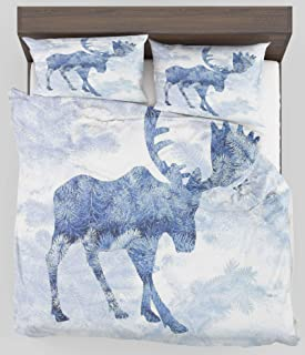 ZELXXXDA Decor Bedding Set Moose Blue Pattern Pine Needles Spruce Tree with Antlers Deer Family Snow Winter Horns King Size Duvet Cover with 2 Matching Pillow sham