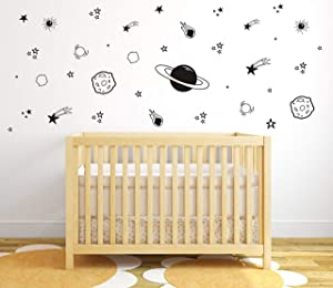Planet Wall Decal, Boys Room Decor, Outer Space Wall Decals, Star Wall Stickers, Vinyl Wall Decals for Children Baby Kids Boys Bedroom, Nursery Decor Y04 (Black)