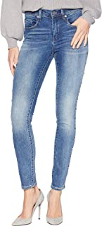 Blank NYC Womens Novelty Denim Skinny with Grommet Detail On Side of Leg in Gnarly