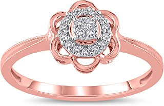 Vibgyor Designs 10K Rose Gold 1/20 Carat Round-Cut (I-J Color, I2-I3 Clarity) Natural Diamond Ring for Women
