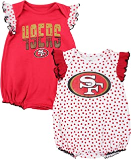Outerstuff San Francisco 49ers NFL Baby Girls 2 Pack Polka Dot Fan Creeper Set - Red and White