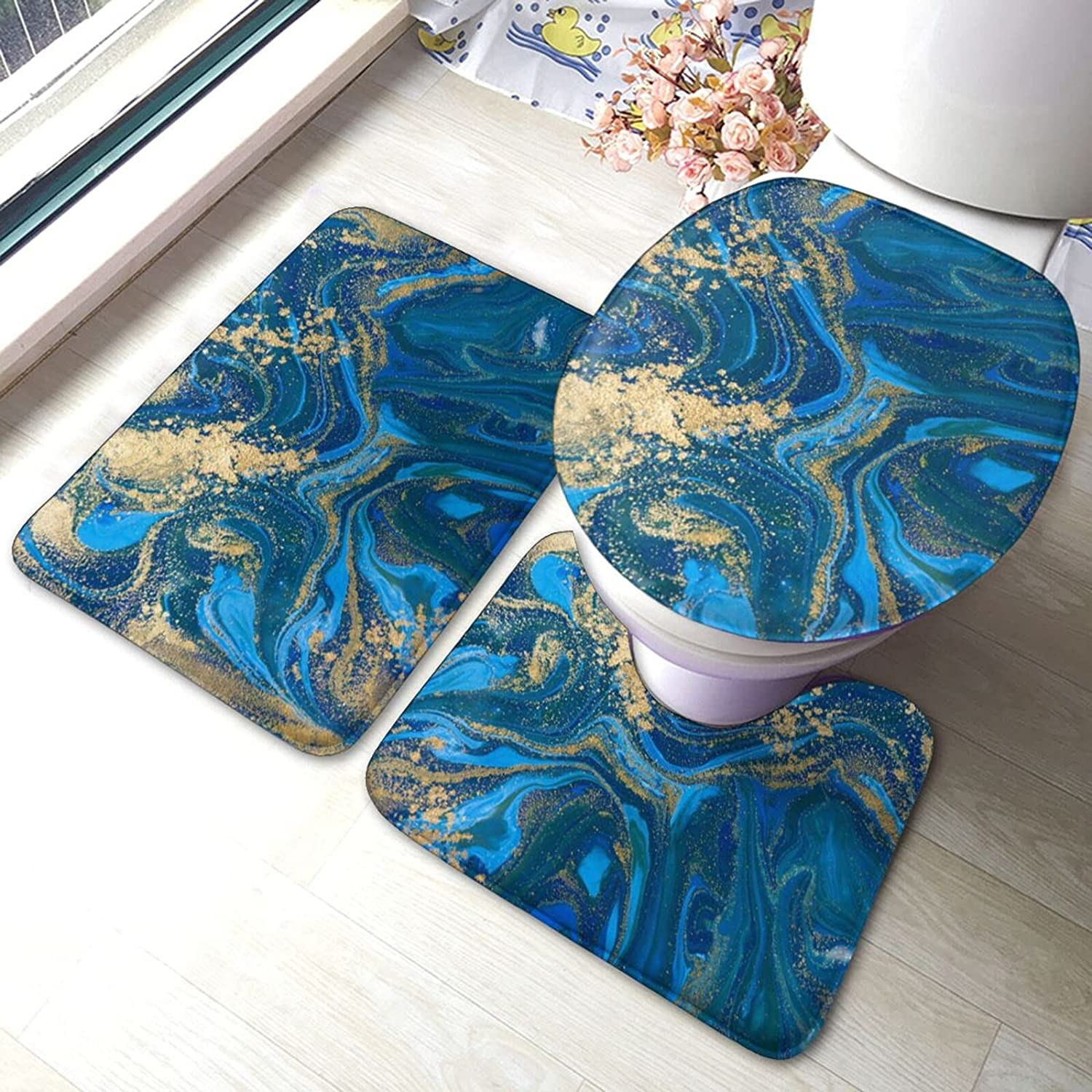 POMDJND Arlington Mall Abstract Blue and Gold Liquid Marble Max 82% OFF Set Bath Mat Stone