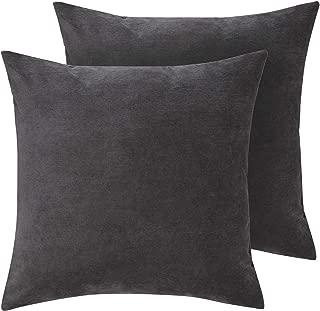 Deconovo Decorative Pillows Sofa Pillow Cases 18 x 18 Inch Soft Throw Toss Pillow Covers for Office Dark Grey Set of 2 No Pillow Insert