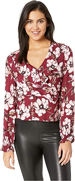 She's A Lady Burgundy Blooms Printed Rayon Top