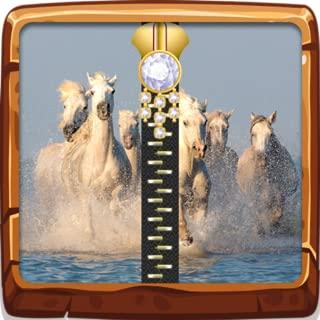 White Horses Zip Lock Screen
