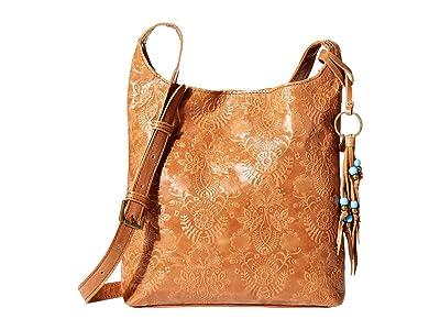 The Sak Huntley Leather Crossbody (Tobacco Floral Embossed) Handbags