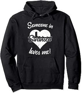Someone In Swansea Wales Loves Me Heart Skyline Pullover Hoodie