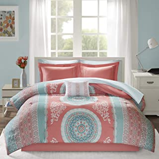 Intelligent Design Loretta Comforter Set Queen Size Bed In A Bag - Coral, Aqua, Bohemian Chic Medallion – 9 Piece Bed Sets...