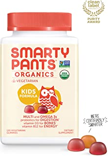 Daily Organic Gummy Kids Multivitamin: Biotin, Vitamin C, D3, E, B12, A, Omega 3 Fish Oil, Zinc, Selenium, Niacin, Iodine, Choline, Methylfolate, Thiamine by SmartyPants (120 Count, 30 Day Supply)