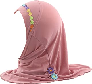 Muslim Hijab Islamic Arab Scarf Shawls with Beautiful Flowers for Girls Kids